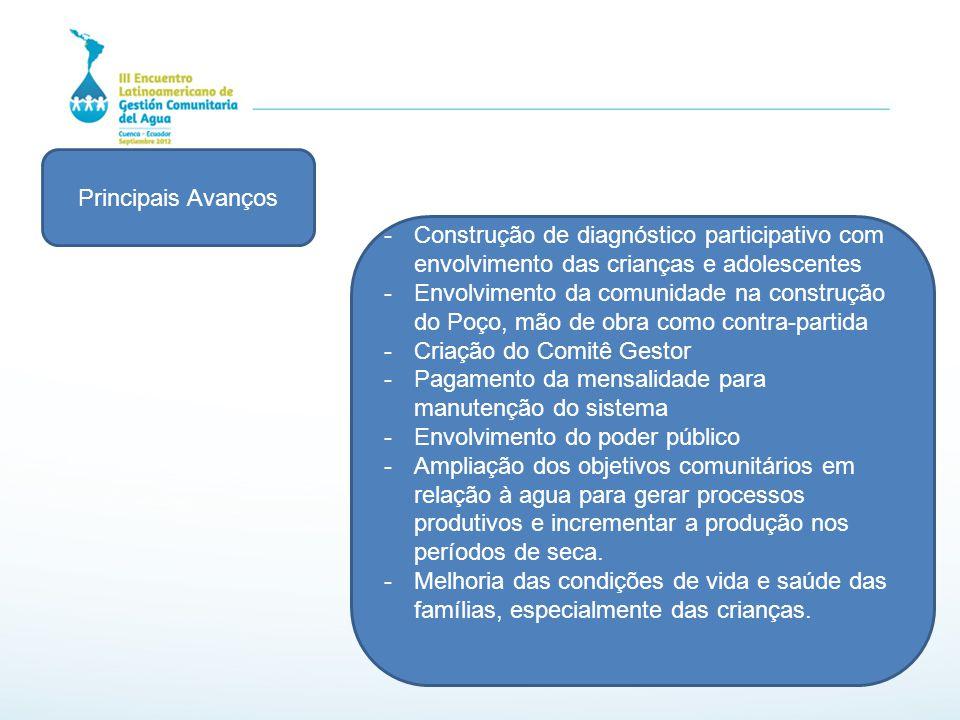 Principais Avanços Construção de diagnóstico participativo com envolvimento das crianças e adolescentes.