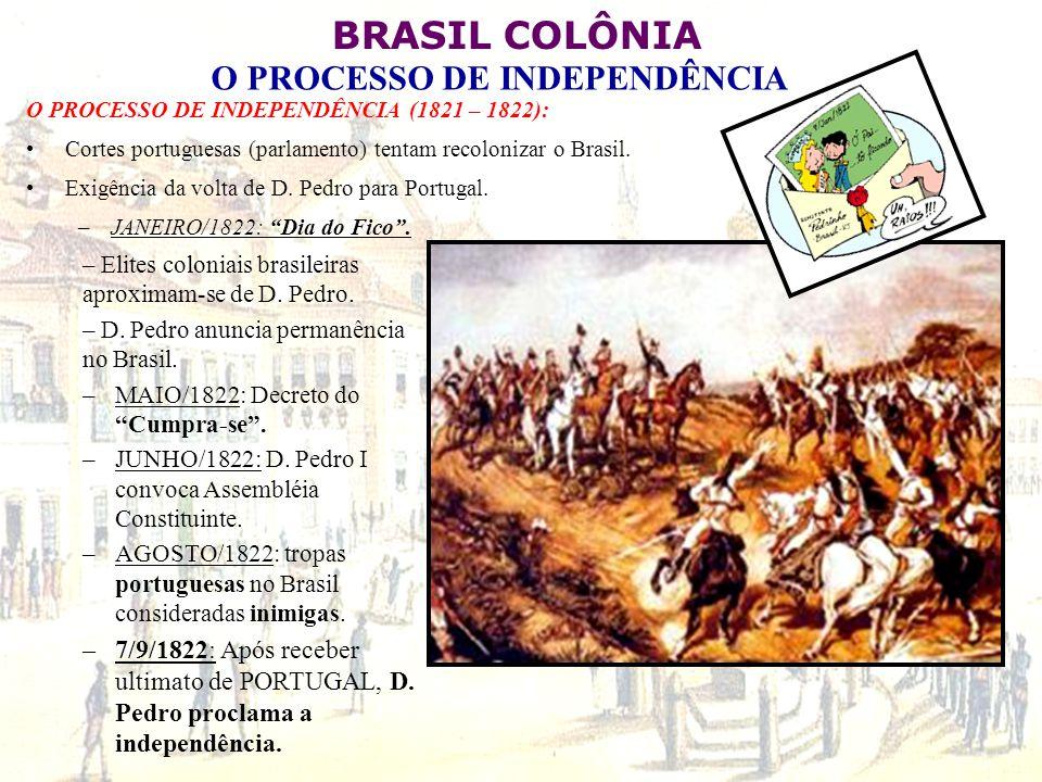 O PROCESSO DE INDEPENDÊNCIA (1821 – 1822):