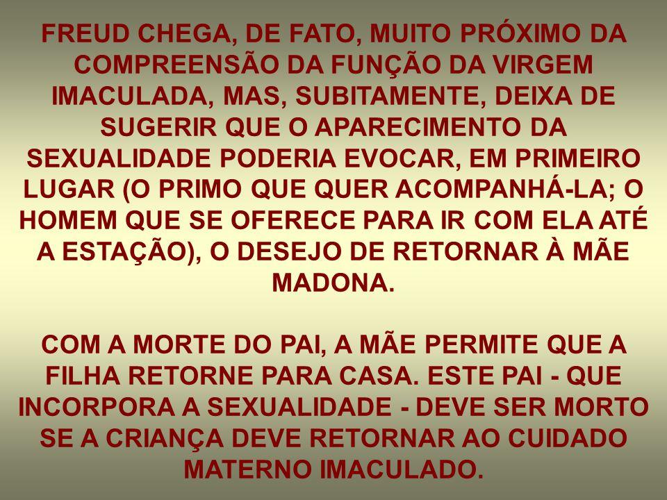 FREUD CHEGA, DE FATO, MUITO PRÓXIMO DA COMPREENSÃO DA FUNÇÃO DA VIRGEM IMACULADA, MAS, SUBITAMENTE, DEIXA DE SUGERIR QUE O APARECIMENTO DA SEXUALIDADE PODERIA EVOCAR, EM PRIMEIRO LUGAR (O PRIMO QUE QUER ACOMPANHÁ-LA; O HOMEM QUE SE OFERECE PARA IR COM ELA ATÉ A ESTAÇÃO), O DESEJO DE RETORNAR À MÃE MADONA.