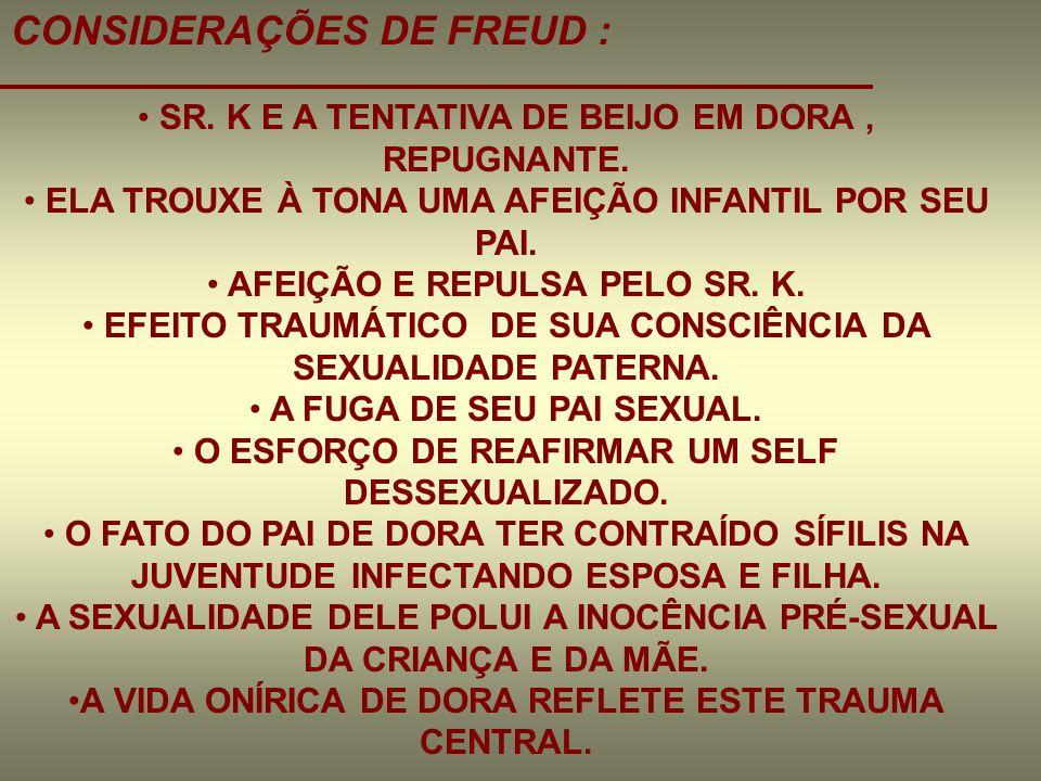 CONSIDERAÇÕES DE FREUD :