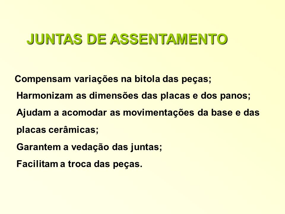 JUNTAS DE ASSENTAMENTO