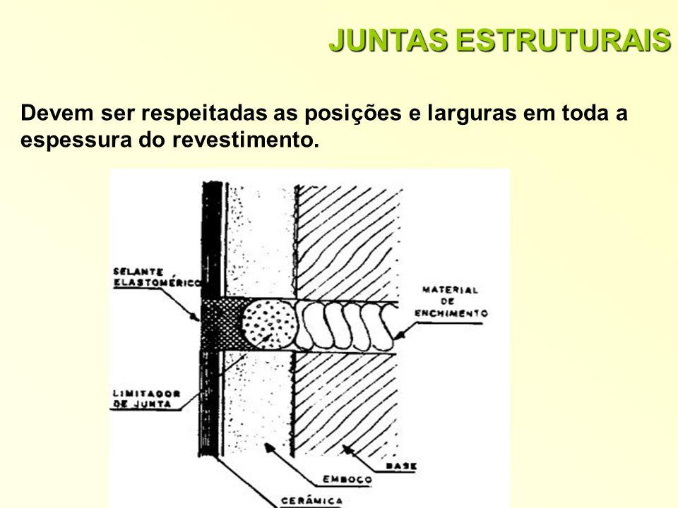 JUNTAS ESTRUTURAIS Devem ser respeitadas as posições e larguras em toda a espessura do revestimento.
