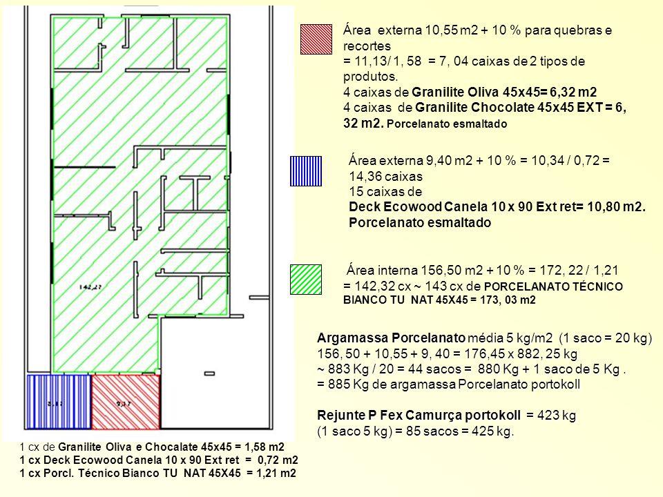 Área externa 10,55 m2 + 10 % para quebras e recortes