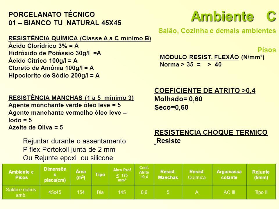 Ambiente C PORCELANATO TÉCNICO 01 – BIANCO TU NATURAL 45X45
