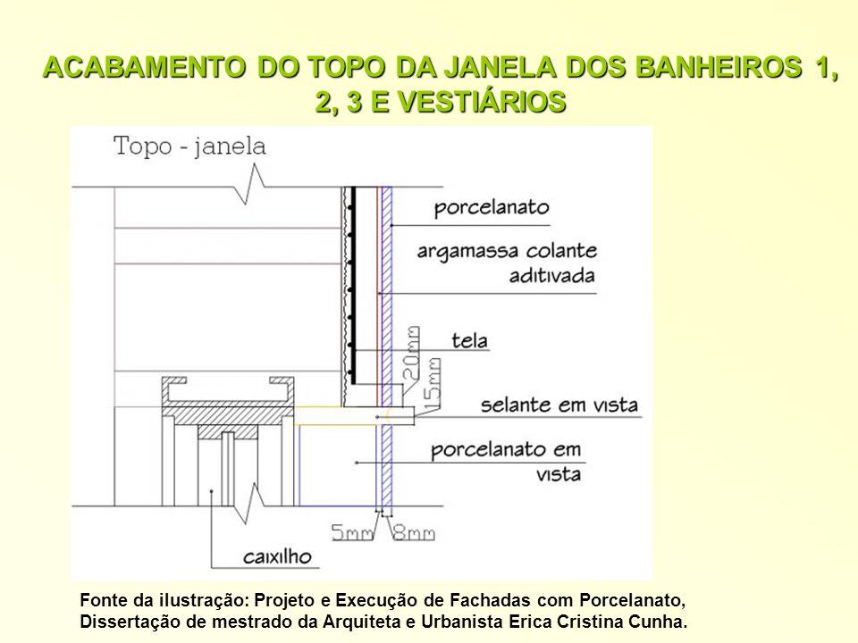 ACABAMENTO DO TOPO DA JANELA DOS BANHEIROS 1, 2, 3 E VESTIÁRIOS