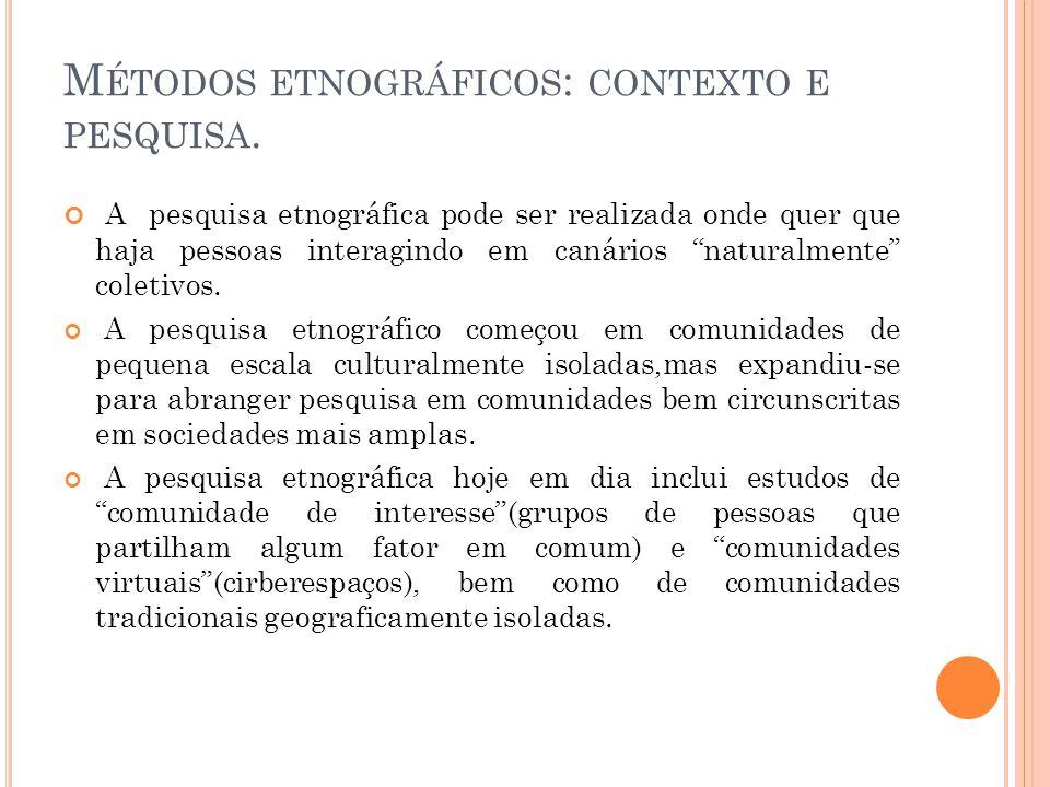 Métodos etnográficos: contexto e pesquisa.