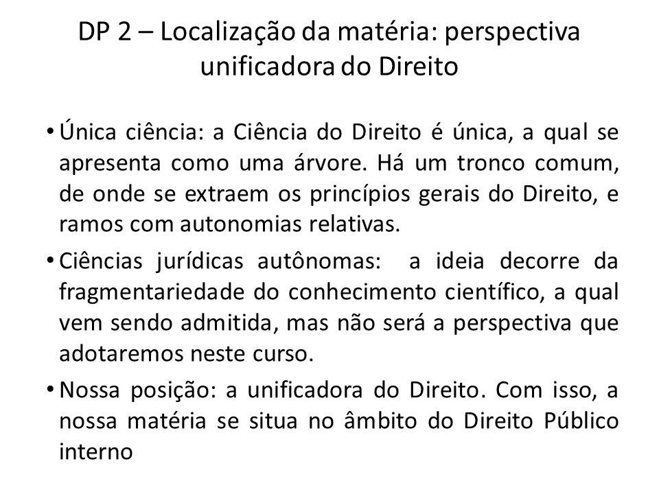 DP 2 – Localização da matéria: perspectiva unificadora do Direito