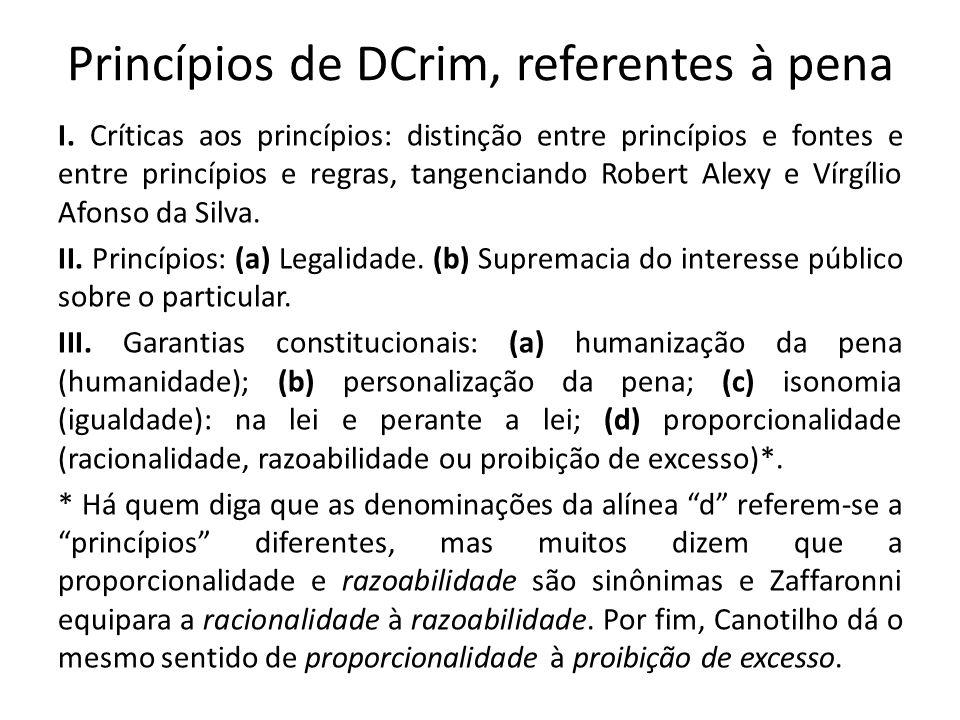 Princípios de DCrim, referentes à pena