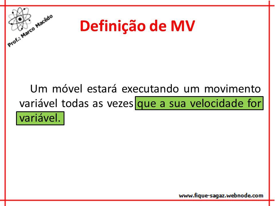 Definição de MV Um móvel estará executando um movimento variável todas as vezes que a sua velocidade for variável.