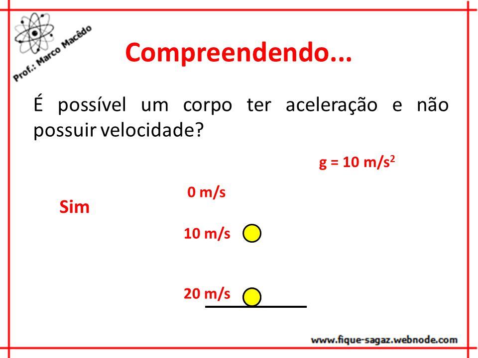 Compreendendo... É possível um corpo ter aceleração e não possuir velocidade g = 10 m/s2. 0 m/s.