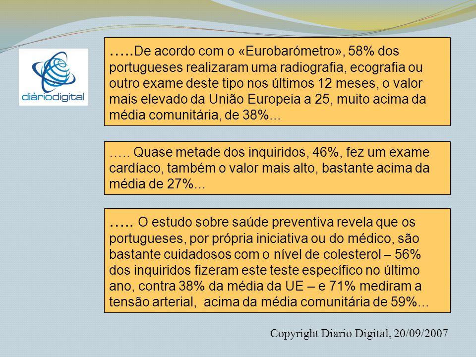 …..De acordo com o «Eurobarómetro», 58% dos portugueses realizaram uma radiografia, ecografia ou outro exame deste tipo nos últimos 12 meses, o valor mais elevado da União Europeia a 25, muito acima da média comunitária, de 38%...