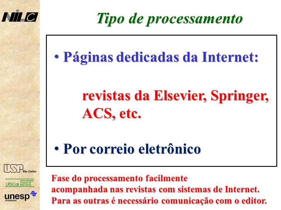 Tipo de processamento Páginas dedicadas da Internet: