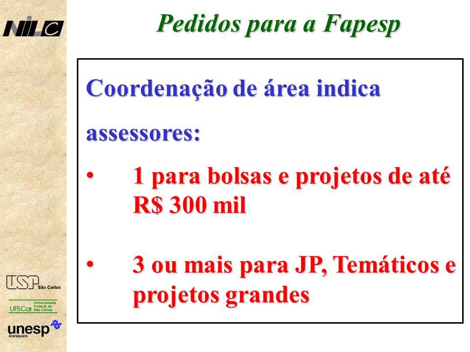 Pedidos para a Fapesp Coordenação de área indica assessores: