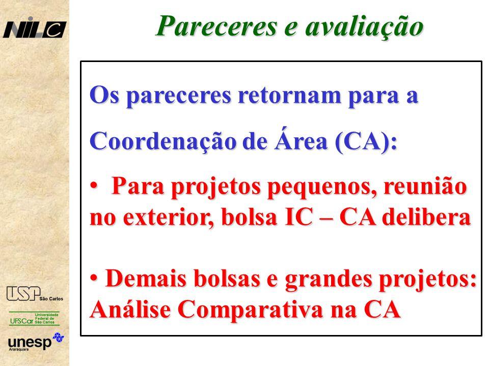 Pareceres e avaliação Os pareceres retornam para a Coordenação de Área (CA): Para projetos pequenos, reunião no exterior, bolsa IC – CA delibera.