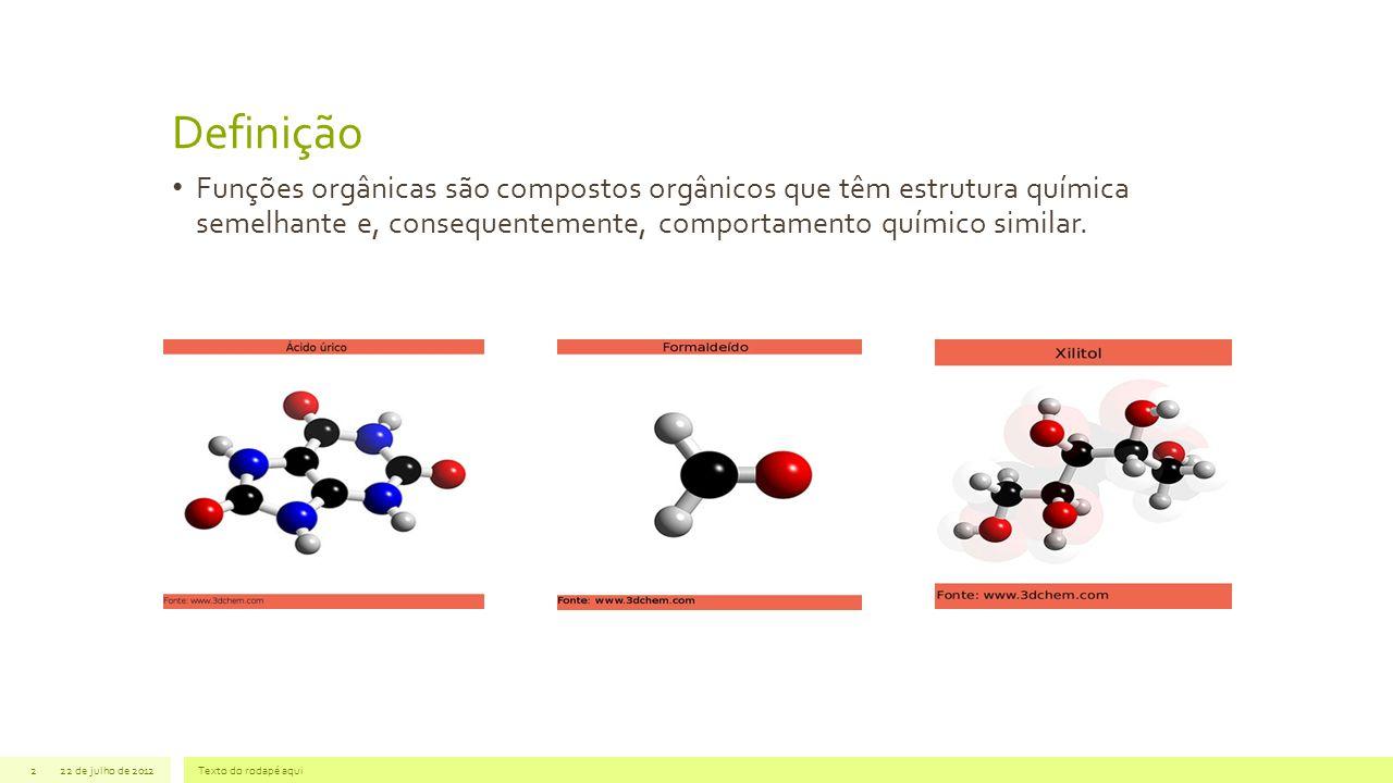 Definição Funções orgânicas são compostos orgânicos que têm estrutura química semelhante e, consequentemente, comportamento químico similar.