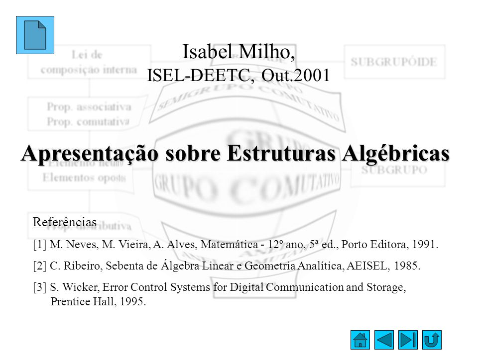 Isabel Milho, ISEL-DEETC, Out.2001