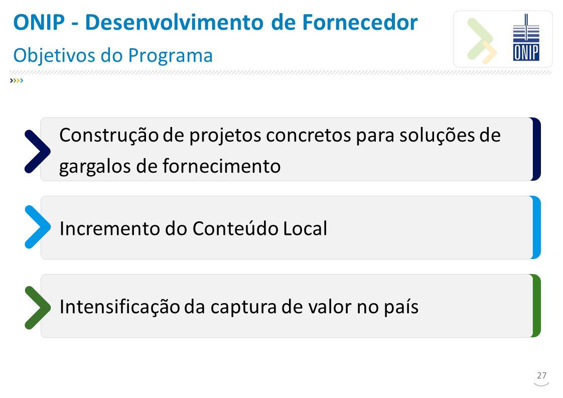 ONIP - Desenvolvimento de Fornecedor Objetivos do Programa