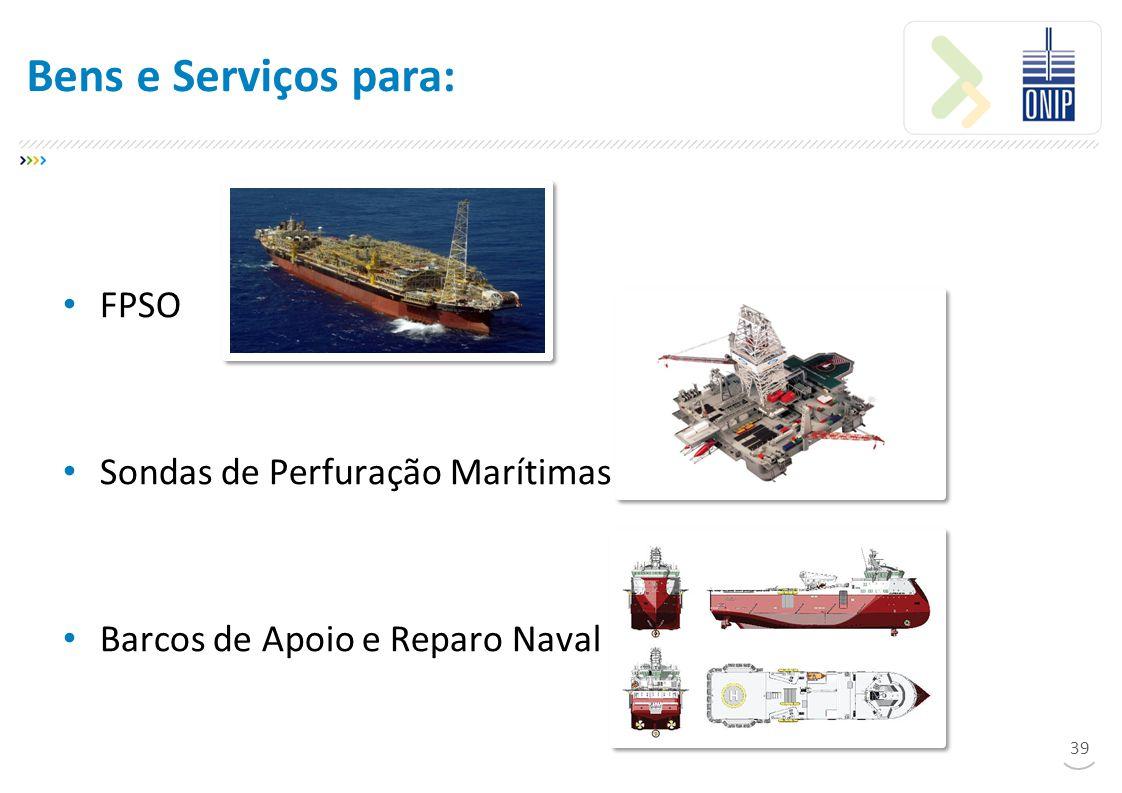 Bens e Serviços para: FPSO Sondas de Perfuração Marítimas
