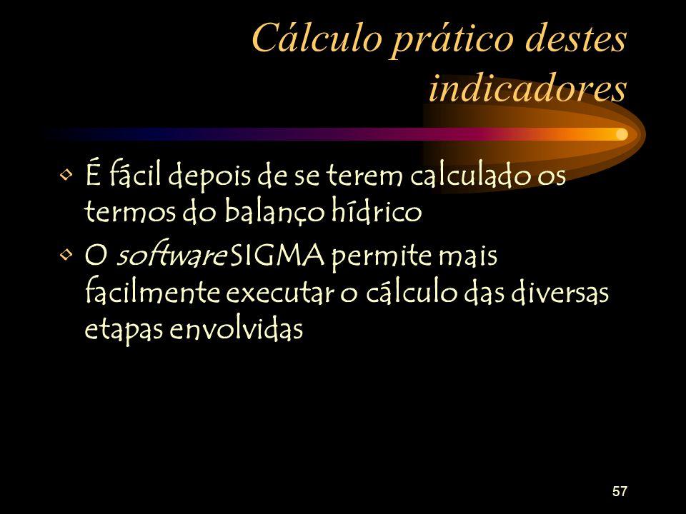 Cálculo prático destes indicadores