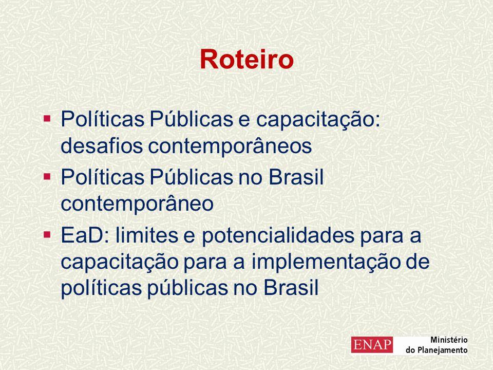 Roteiro Políticas Públicas e capacitação: desafios contemporâneos