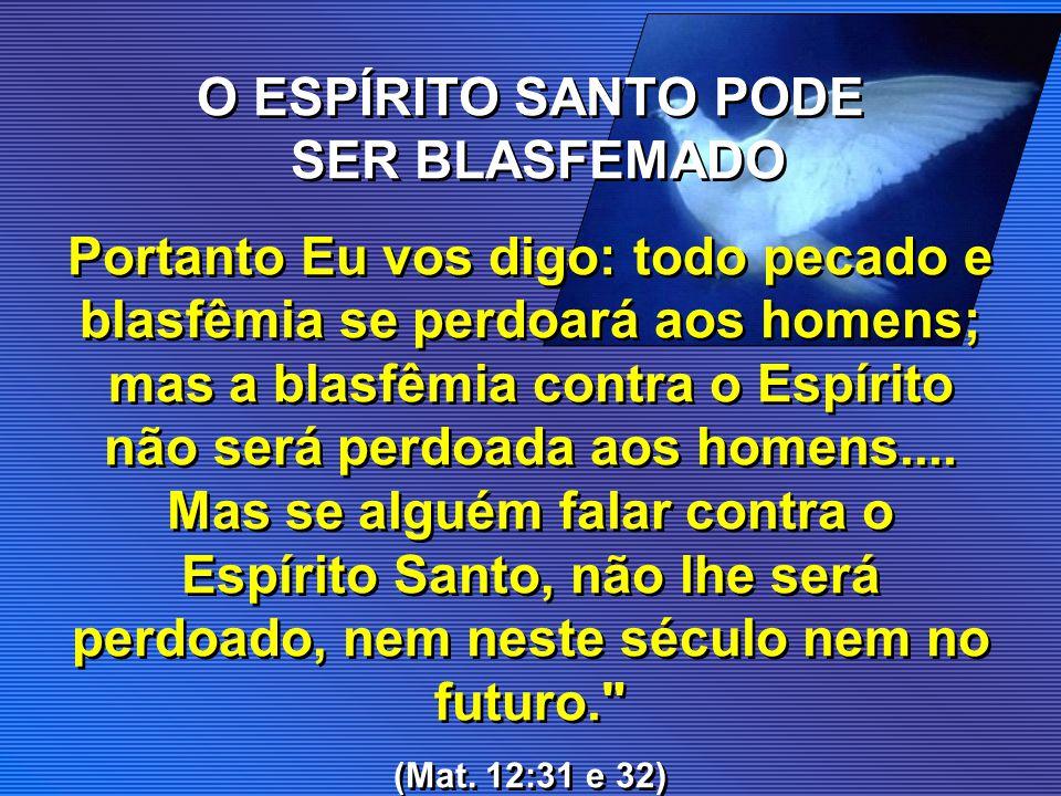 O ESPÍRITO SANTO PODE SER BLASFEMADO
