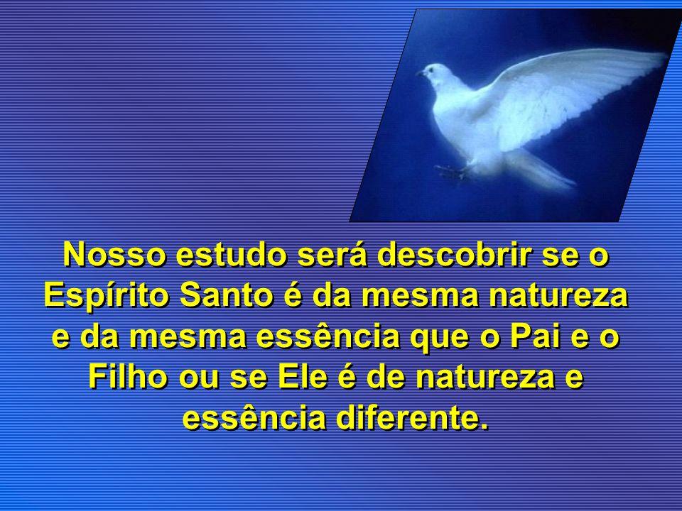 Nosso estudo será descobrir se o Espírito Santo é da mesma natureza e da mesma essência que o Pai e o Filho ou se Ele é de natureza e essência diferente.