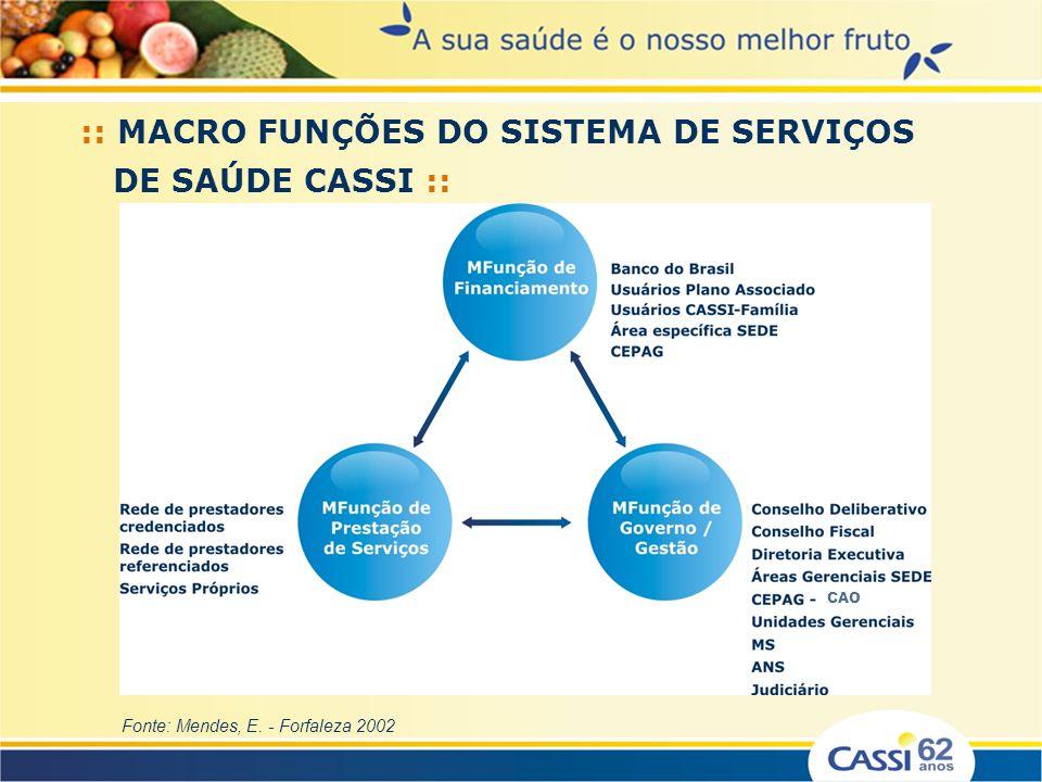:: MACRO FUNÇÕES DO SISTEMA DE SERVIÇOS DE SAÚDE CASSI ::