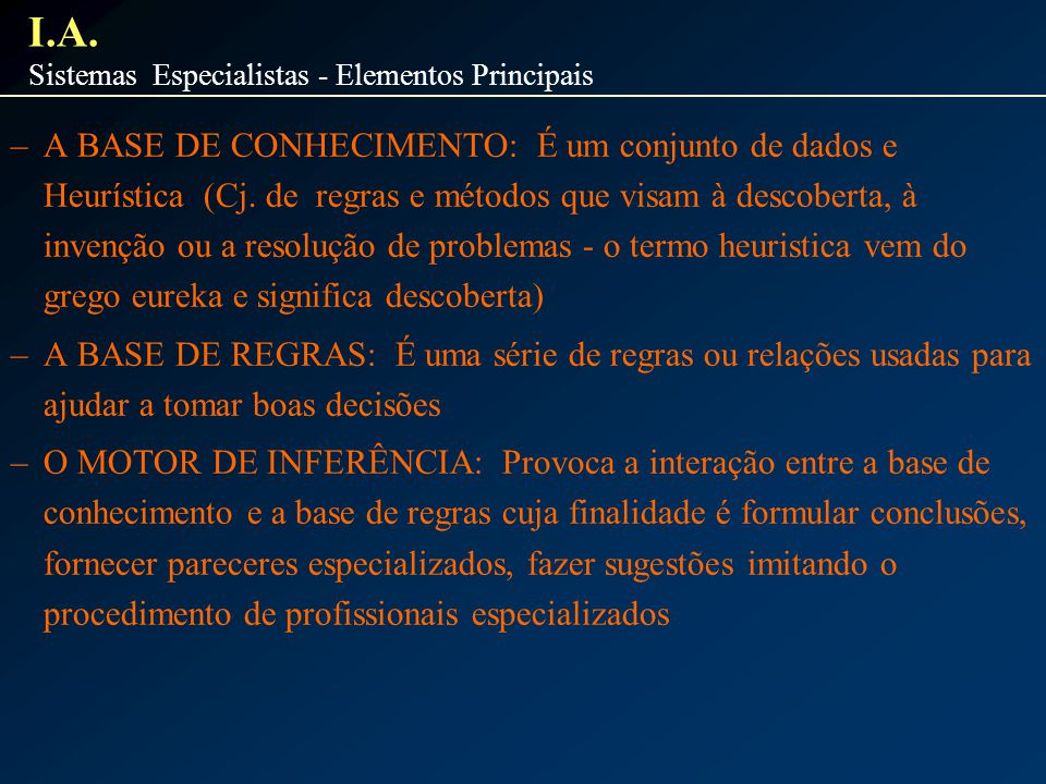 I.A. Sistemas Especialistas - Elementos Principais.