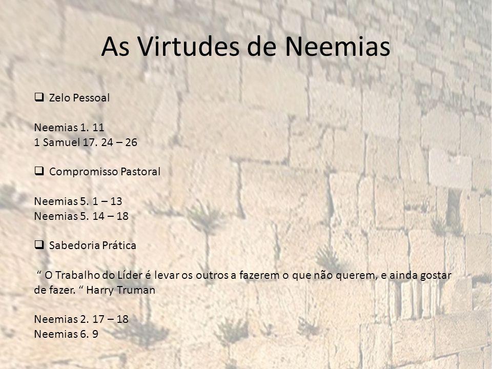 As Virtudes de Neemias Zelo Pessoal Neemias 1. 11 1 Samuel 17. 24 – 26