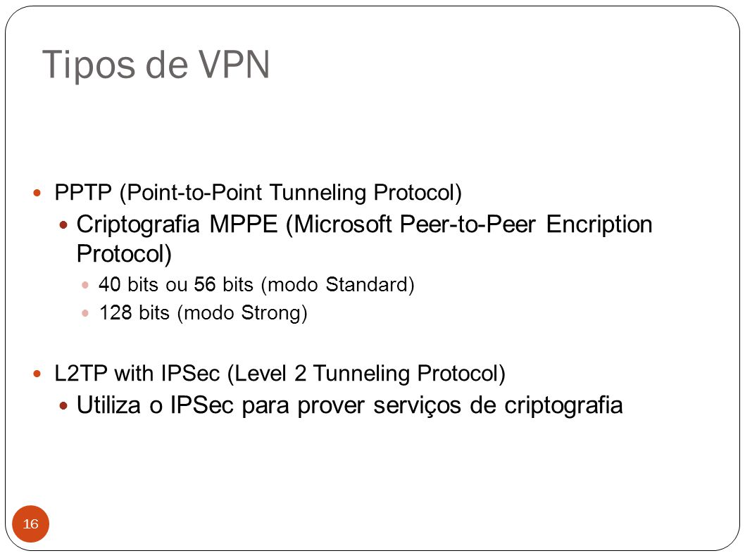 Tipos de VPN PPTP (Point-to-Point Tunneling Protocol) Criptografia MPPE (Microsoft Peer-to-Peer Encription Protocol)