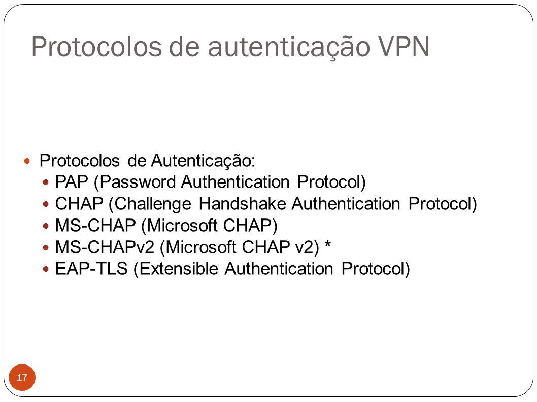 Protocolos de autenticação VPN
