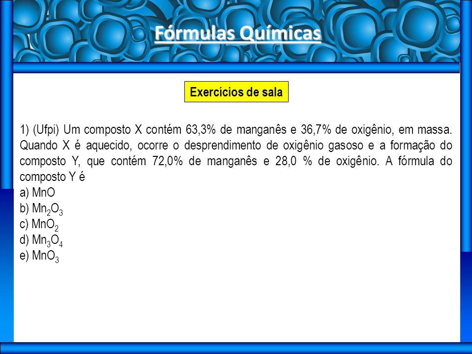 Fórmulas Químicas Exercícios de sala
