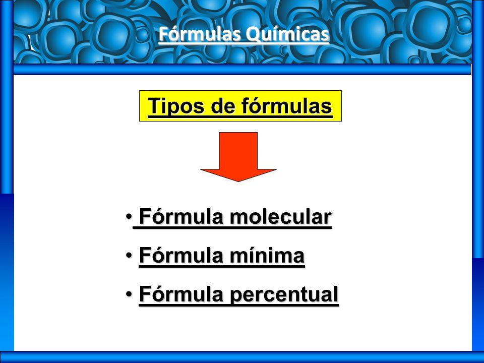 Fórmulas Químicas Tipos de fórmulas Fórmula molecular Fórmula mínima Fórmula percentual
