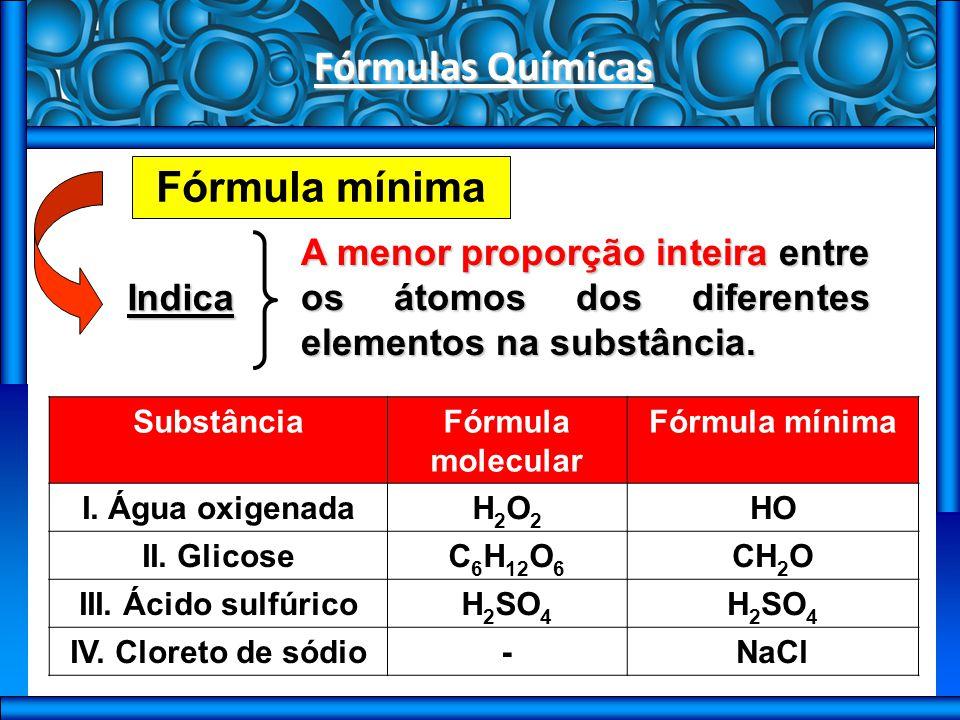 Fórmulas Químicas Fórmula mínima
