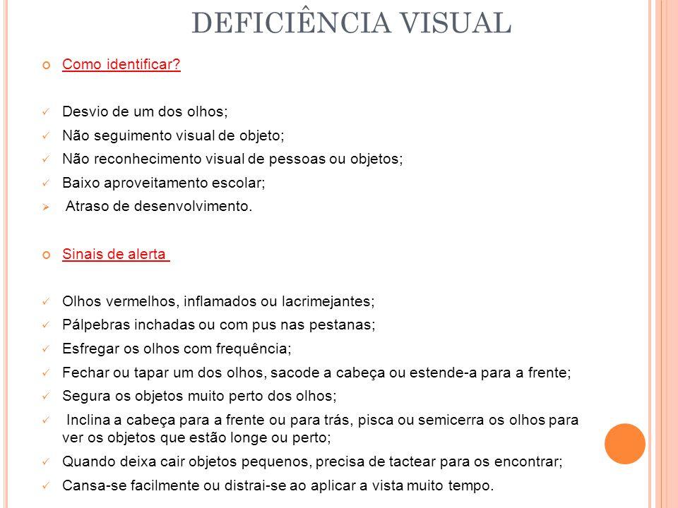 DEFICIÊNCIA VISUAL Como identificar Desvio de um dos olhos;