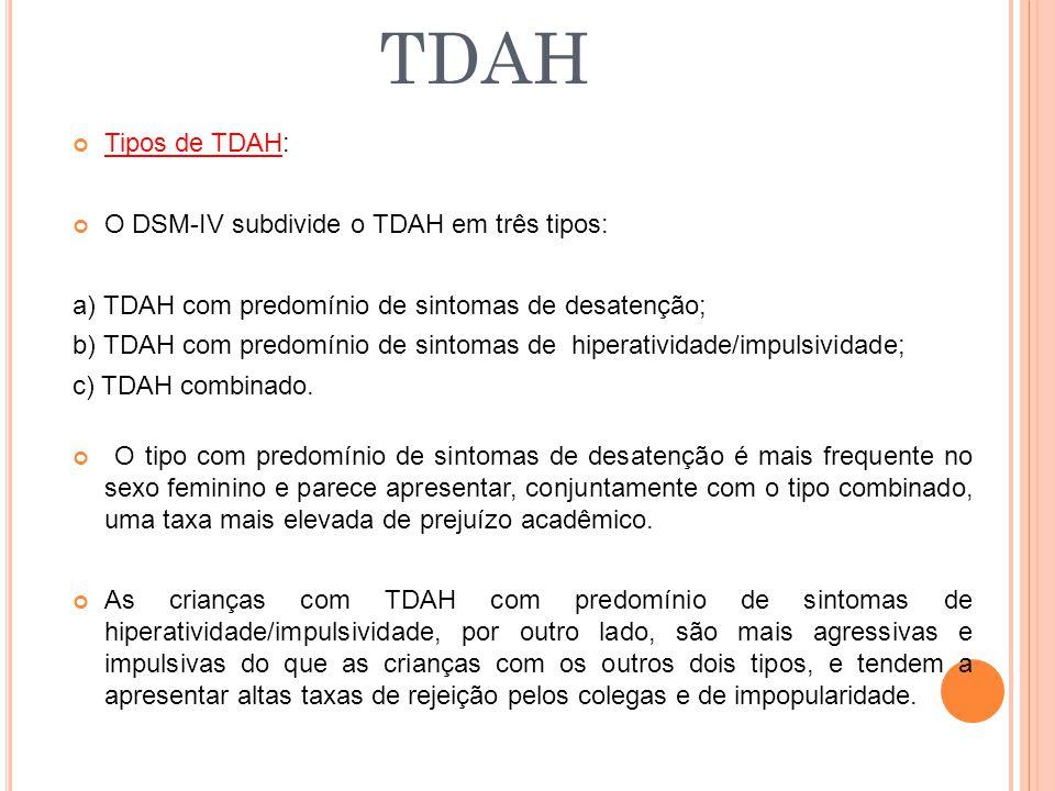 TDAH Tipos de TDAH: O DSM-IV subdivide o TDAH em três tipos: