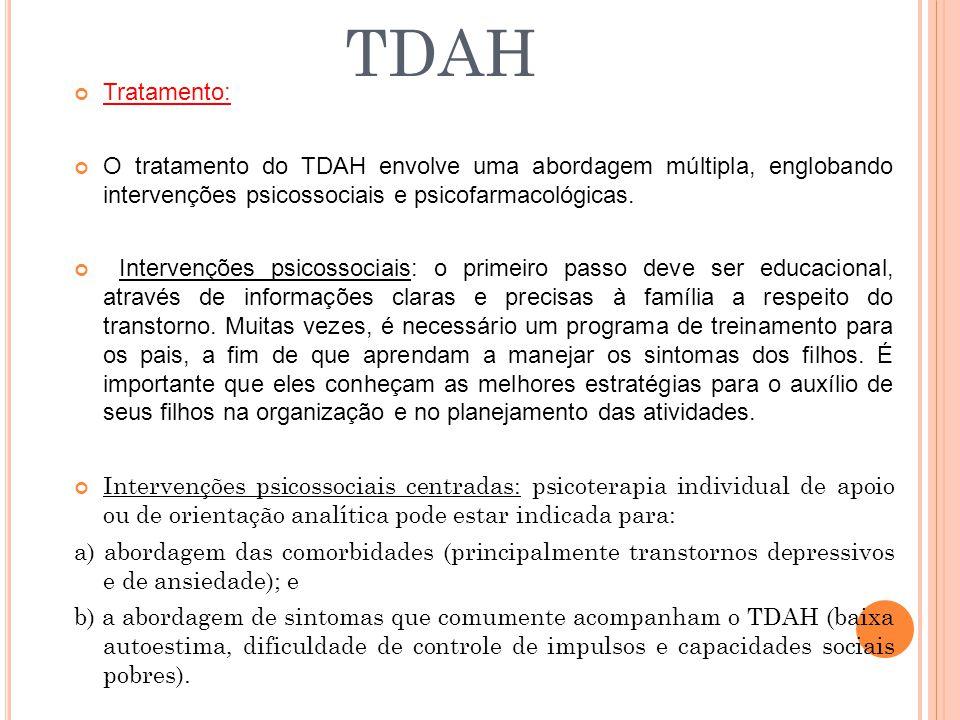 TDAH Tratamento: O tratamento do TDAH envolve uma abordagem múltipla, englobando intervenções psicossociais e psicofarmacológicas.
