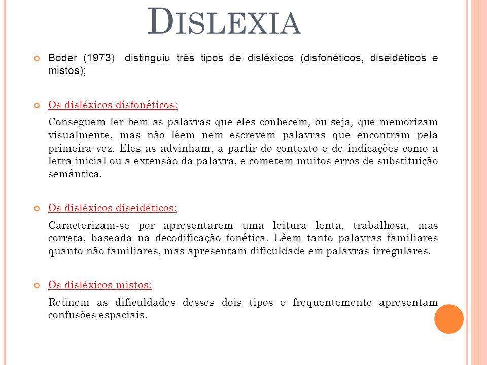 Dislexia Boder (1973) distinguiu três tipos de disléxicos (disfonéticos, diseidéticos e mistos); Os disléxicos disfonéticos: