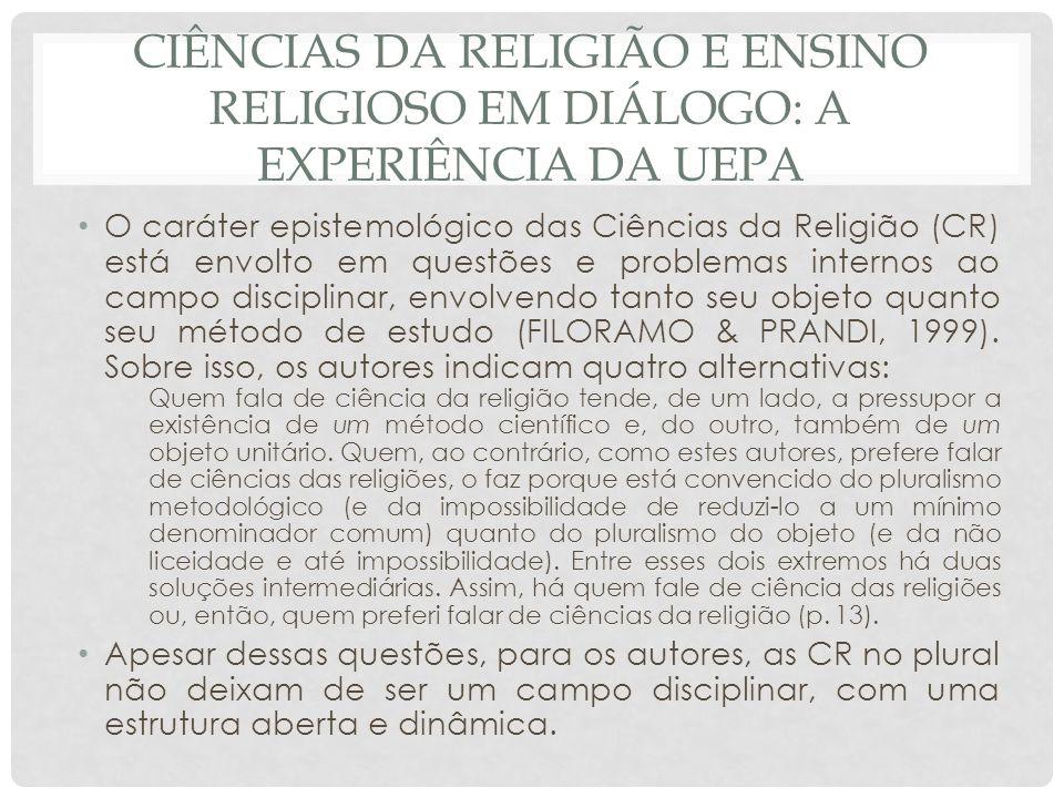 Ciências da religião e ensino religioso em diálogo: a experiência da uepa