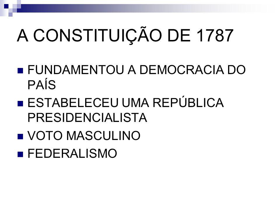 A CONSTITUIÇÃO DE 1787 FUNDAMENTOU A DEMOCRACIA DO PAÍS