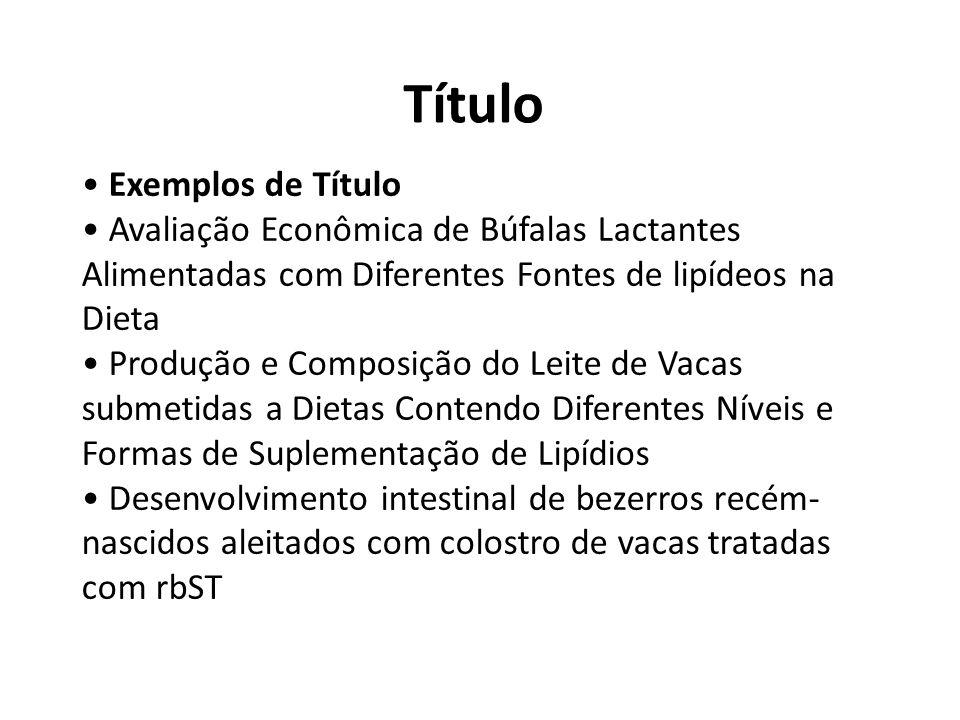 Título • Exemplos de Título