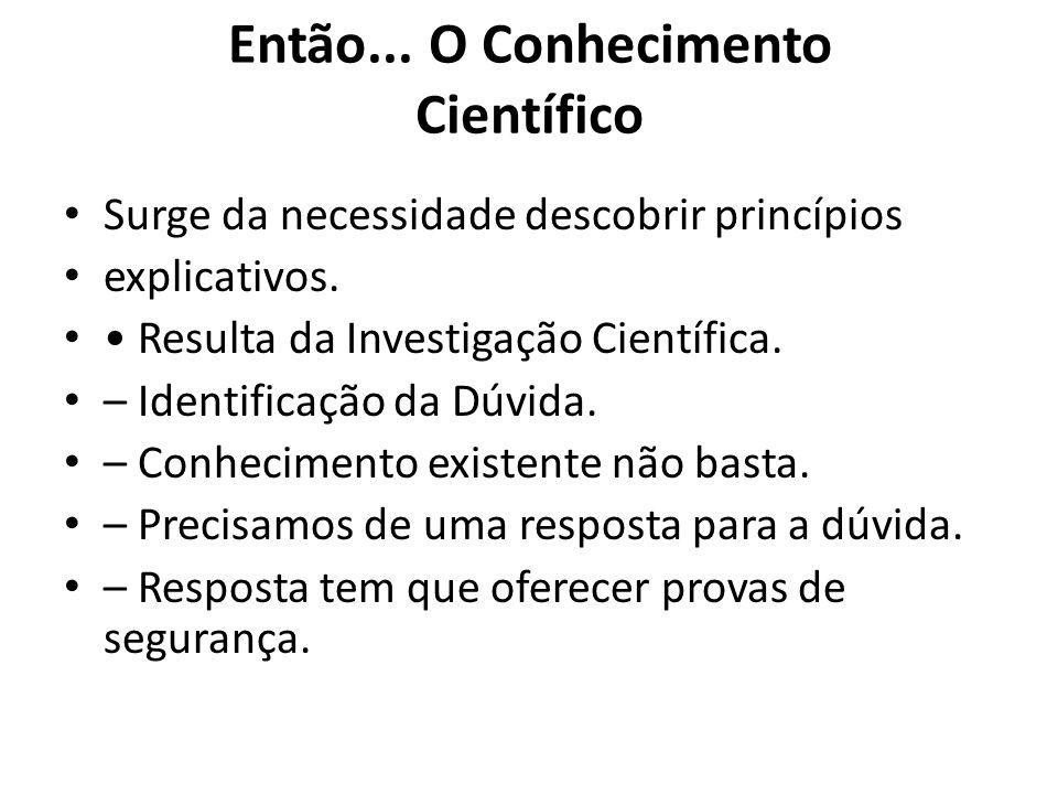 Então... O Conhecimento Científico