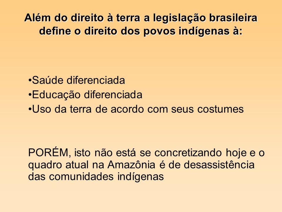 Além do direito à terra a legislação brasileira define o direito dos povos indígenas à: