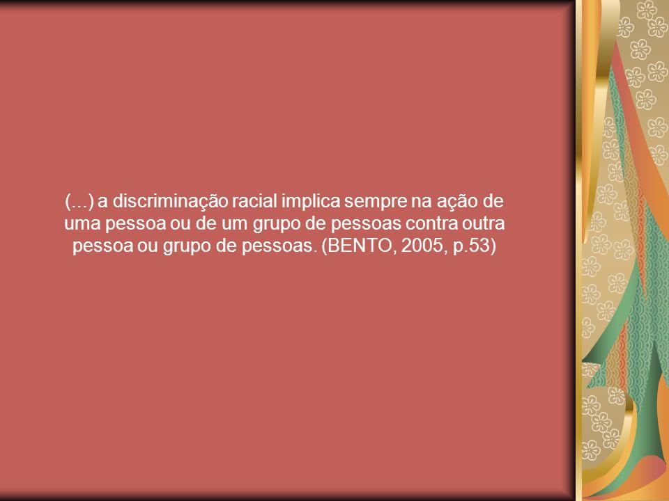 (...) a discriminação racial implica sempre na ação de uma pessoa ou de um grupo de pessoas contra outra pessoa ou grupo de pessoas.