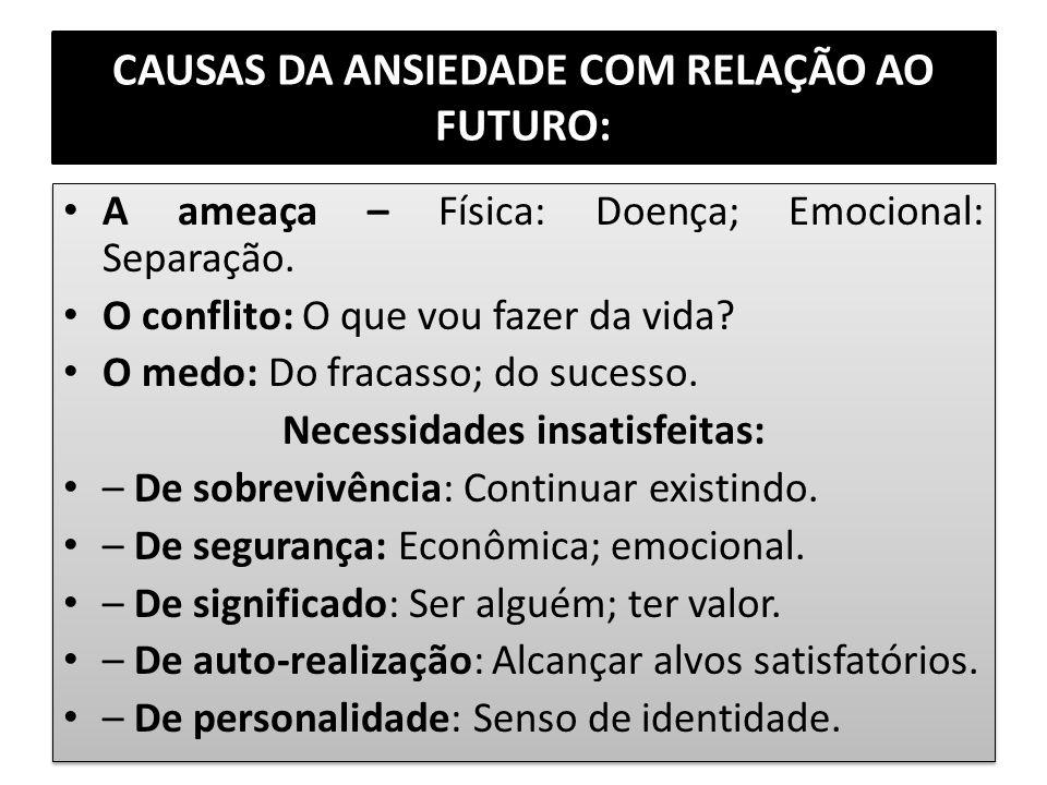 CAUSAS DA ANSIEDADE COM RELAÇÃO AO FUTURO: