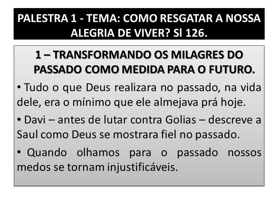 PALESTRA 1 - TEMA: COMO RESGATAR A NOSSA ALEGRIA DE VIVER Sl 126.