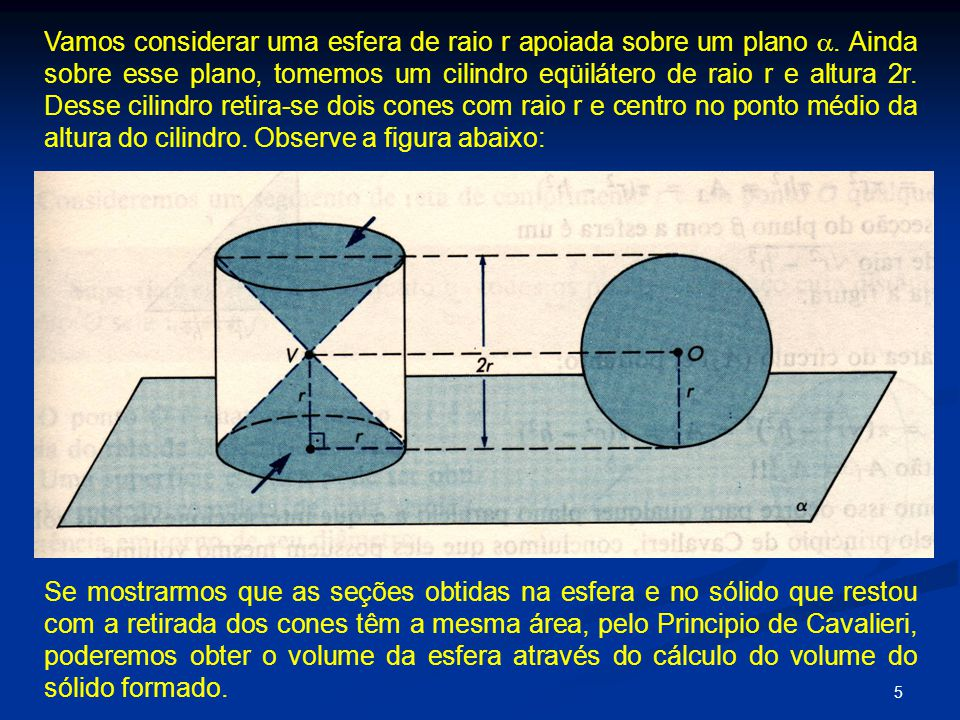 Vamos considerar uma esfera de raio r apoiada sobre um plano 