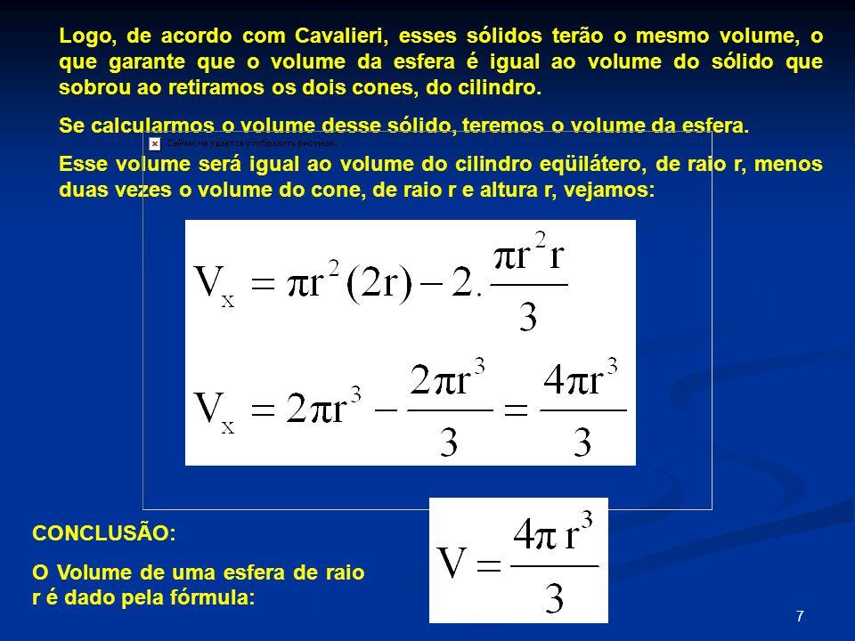 Logo, de acordo com Cavalieri, esses sólidos terão o mesmo volume, o que garante que o volume da esfera é igual ao volume do sólido que sobrou ao retiramos os dois cones, do cilindro.