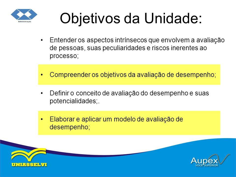 Objetivos da Unidade: Entender os aspectos intrínsecos que envolvem a avaliação de pessoas, suas peculiaridades e riscos inerentes ao processo;