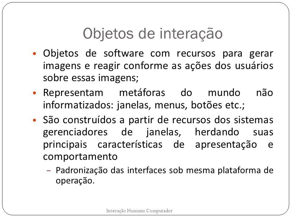 Objetos de interação Objetos de software com recursos para gerar imagens e reagir conforme as ações dos usuários sobre essas imagens;